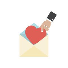 Hand Pick A Heart Love Letter Concept Vector Illustration