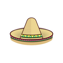 traditional mexican hat with ethnic colorful decoration. vector illustration