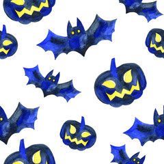Halloween seamless pattern with pumpkin and bat.