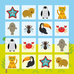 Starfish hamster Penguin leopard seal toucan crab fly Finding the Same Picture Educational game for Preschool Children. Vector