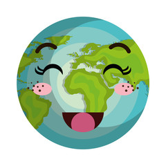 earth world planet kawaii cartoon with happy expression face . vector illustration