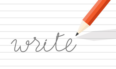 """orange wooden pencil write on line paper. the word """"write"""" one paper."""