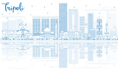 Outline Tripoli Skyline with Blue Buildings and Reflections.