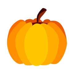 Isolated Vector Yellow Orange Festive Halloween Pumpkin on White Background, Single Icon