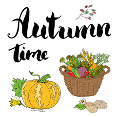 Autumn season set. Hand drawn doodles and lettering vector illustration.