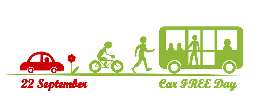 Car free day, September 22. Red and green color. Vector Illustration.