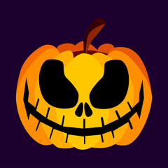 Isolated Vector Yellow Orange Festive Scary Halloween Pumpkin with a Scary Jack Face on Purple Background, Spooky Single Icon