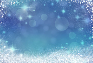 Abstract Winter background abstract bokeh. Snow, blurred lights. Blue and white