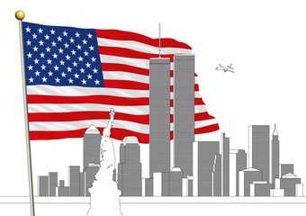 WTC, Twin Towers and US flag, eleven september memorial