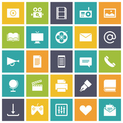 Flat design icons for media