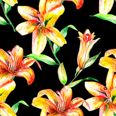 Lily in the summer garden. watercolor art. pattern