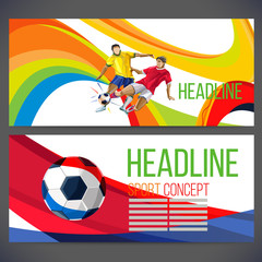 Concept of soccer player with colored geometric shapes