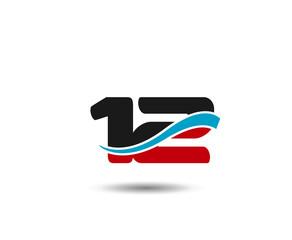 Number 12 swoosh design template logo