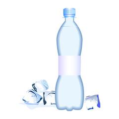 бутылка воды со льдом на белом фоне, векторная иллюстрация