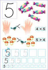 Educational page for children with number 5. Developing skills for counting and writing. Vector image.