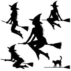 Silhouettes of young witch on broomstick.