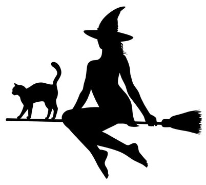 Black silhouette of witch and cat on broomstick.
