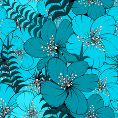 Bright seamless  pattern with palm branches leaves and  flowers. Multicolor texture