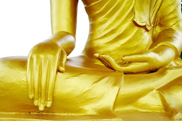 Buddha statue focus on hands isolated on a white background