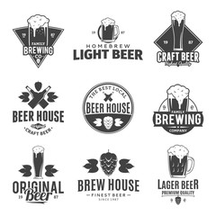 Vector black and white beer logo, icons and design elements