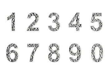 3D illustration of Digits one to nine