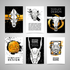 Set of trendy cards with animal skulls decor. Invitations, postcards chelvoecheskim and animal skulls. Vector cards, flyers, brochures with grunge texture, golden color and white skulls. Vector.