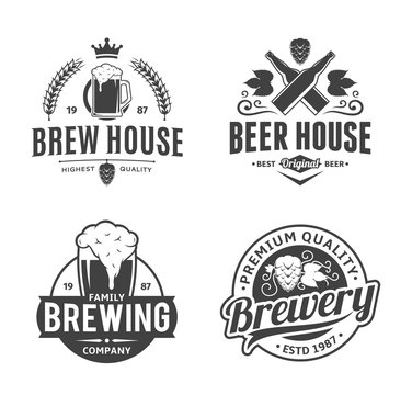 Vector black and white vintage beer logo and icons