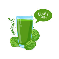 Design Template banner, poster, icons spinach smoothies. Illustration of spinach juice Drink me. Freshly squeezed vegetable herb spinach juice for healthy life. Vector.