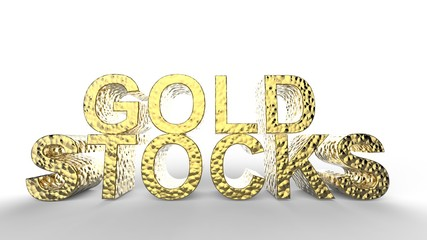 3D Rendering of Gold Stocks text