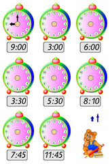 Exercises for children - need to draw clock hands at the corresponding places. Developing skills for counting and drawing. Vector image.