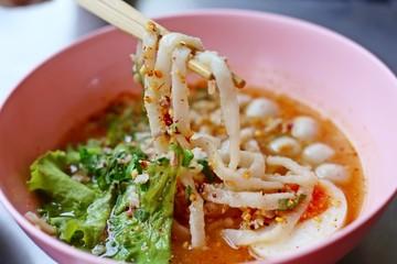 Spicy noodle soup, Noodle soup, Fish ball noodles.