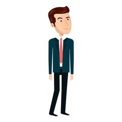 avatar businessman wearing suit and tie cartoon. vector illustration
