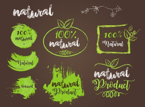 Natural Bio Badge Logo Vector