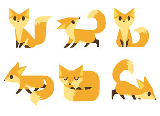 Set of foxes, Vector illustration.