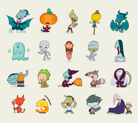 Set of halloween character, Vector illustration.