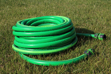 Garden hose bundle on the mown lawn in the summer garden