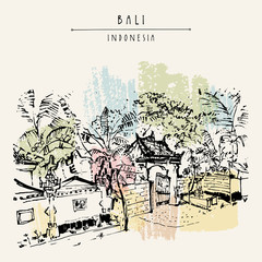 A street in Bali, Indonesia, Southeast Asia. Hand drawing. Travel sketch. Book illustration, postcard or poster template