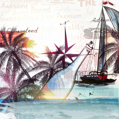 Illustration with ship bottle and palm trees for design. Sea and
