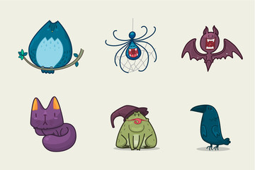 Set of halloween animal, Character set, Vector illustration.