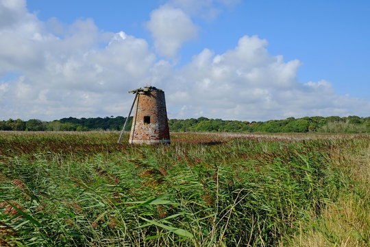 The now derelict  drainage mill on Westwood marshes, Walberswick, near Southwold,  Suffolk.