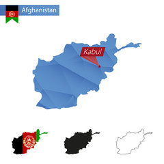 Afghanistan blue Low Poly map with capital Kabul.