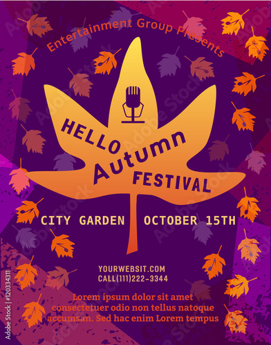 Template Design Poster Hello Autumn Festival. Fall Leave Silhouettes. Live  Music Concert Show Promotion
