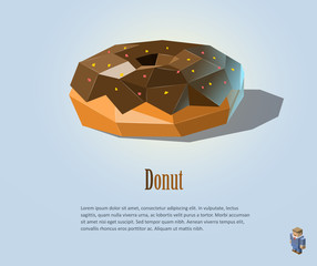Vector polygonal illustration of Donut with chocolate on top, modern food icon design
