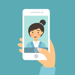 Vector illustration of a woman take a selfie picture of her self with smart phone in blue background.