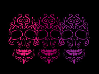 Skull vector background for fashion design, patterns, tattoos, day of the dead