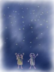 夜空 星空 こどもたち