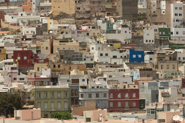 Panoramic view on colourful residential structures in Vegueta district, city of Las Palmas of Gran Canaria, Canary Islands, Spain