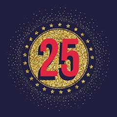 Twenty five years anniversary golden celebration logotype. 25th anniversary gold logo.