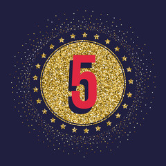 Five years anniversary celebration golden logotype. 5th anniversary gold logo.