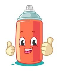 Spray Paint Mascot Cartoon Vector Illustration Thumbs Up